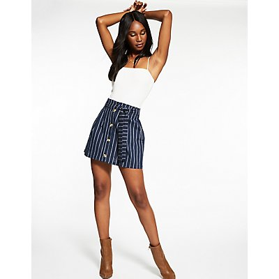 Striped Button Up Paperbag Skirt