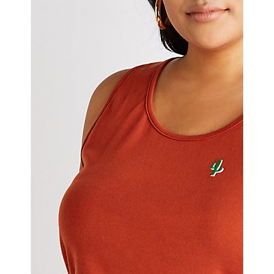 Plus Size Embroidered Cactus Tank