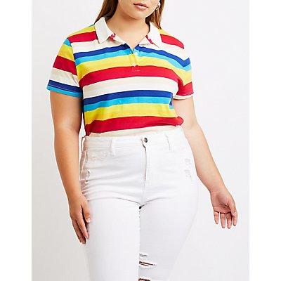 Plus Size Striped Polo Tee