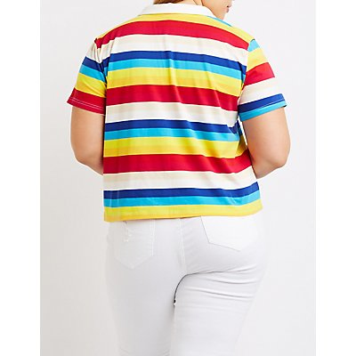 Plus Size Striped Polo Tee