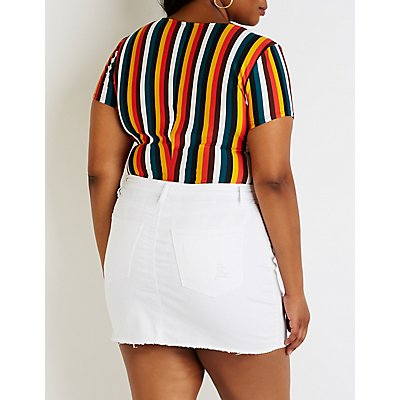 Plus Size Striped Bodysuit