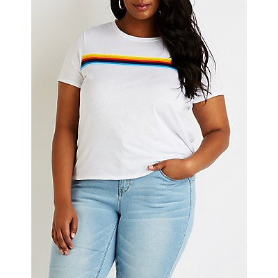 Plus Size Rainbow Striped Tee