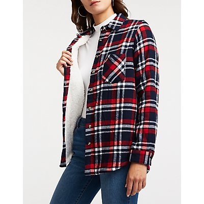 Sherpa Lined Button Up Top