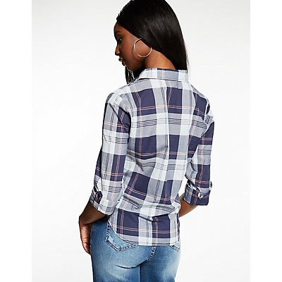 Plaid Tie Front Button Up Top