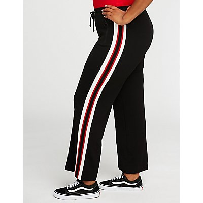 Plus Size Side Striped Flare Pants