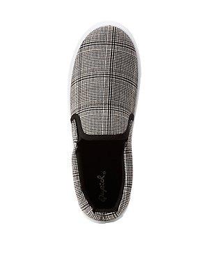 Plaid Slip On Sneakers