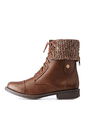 Knit Foldover Combat Boots