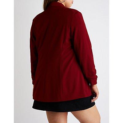 Plus Size Longline Open Front Blazer