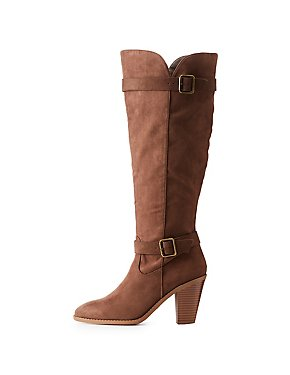 Buckle Trim Stacked Heel Boots