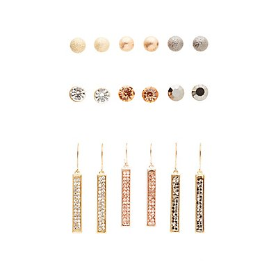 Textured and Embellished Earrings - 9 Pack