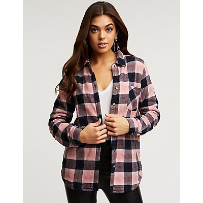Plaid Sherpa Lined Button Up Top