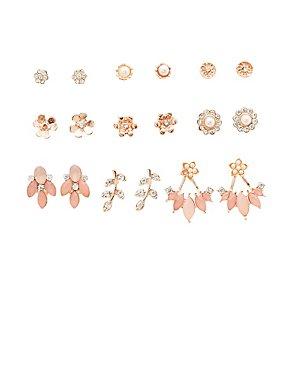 Assorted Flower Stud Earrings - 9 Pack