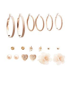 Assorted Hoop & Stud Earrings - 9 Pack