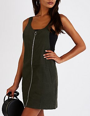 Zip Up Overall Shift Dress