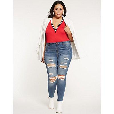 Plus Size Varsity Stripe Bodysuit