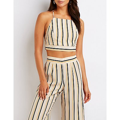 Striped Bib Neck Crop Top