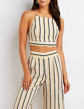 Striped Wrap Crop Top