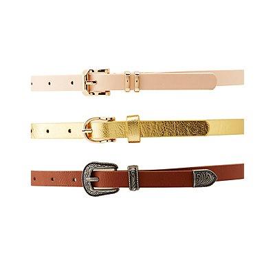 Western Skinny Belts - 3 Pack