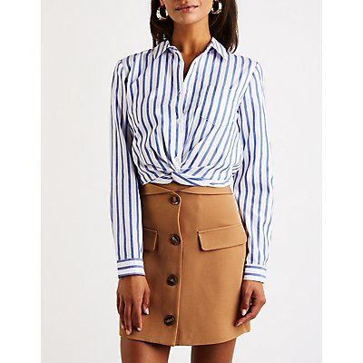 Striped Twist Front Button Up Top