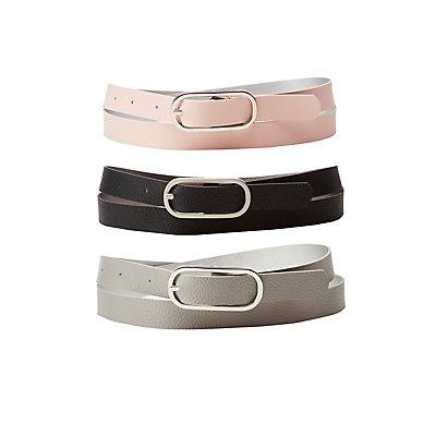 Reversible Skinny Belts - 3 Pack
