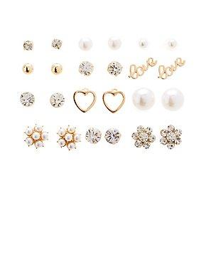 Faux Pearl & Floral Stud Earrings - 12 Pack