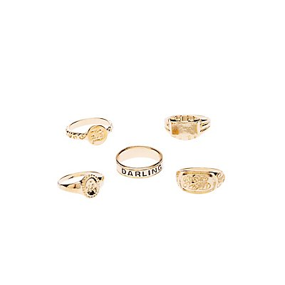Letter Print Stacking Rings - 5 Pack