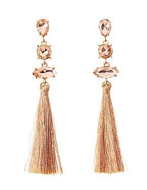 Rhinestone Tassel Drop Earrings