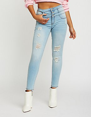 Refuge Destroyed Hi Waist Skinny Jeans