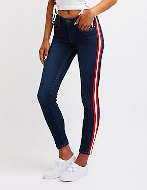 Machine Jeans Striped Skinny Jeans