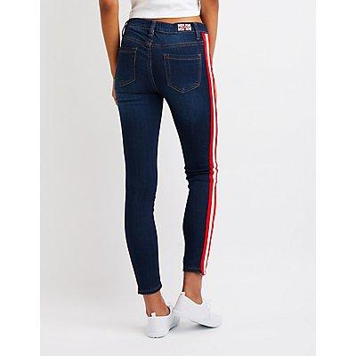 Machine Jeans Striped Skinny Jeans