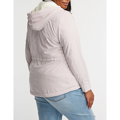 Plus Size Sherpa Hooded Anorak Jacket