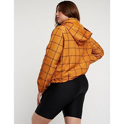 Plus Size Windowpane Hooded Windbreaker