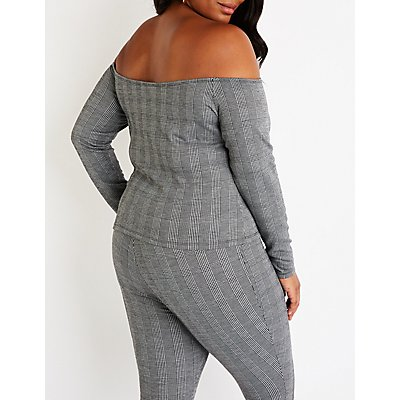 Plus Size Houndstooth Off The Shoulder Crop Top