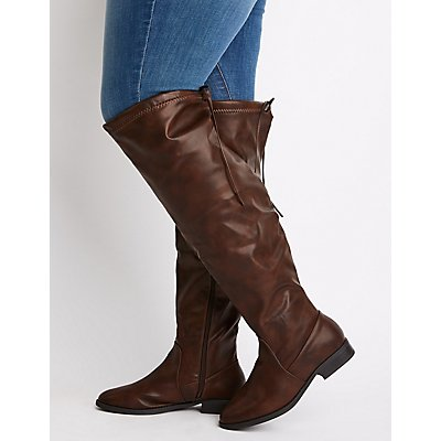 Wide Calf Boots Riding Knee High Moto Charlotte Russe