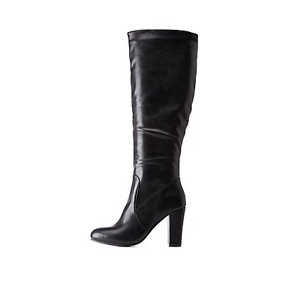 Almond Toe Calf Boots by Charlotte Russe