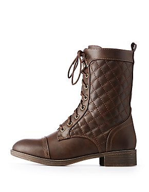 Quilted Lace-Up Combat Booties