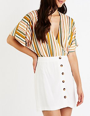 Striped Wrap Bodysuit