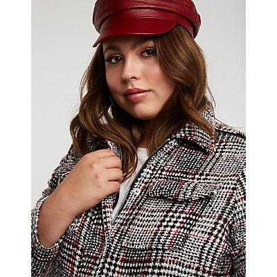 Plus Size Glen Plaid Zip Up Jacket