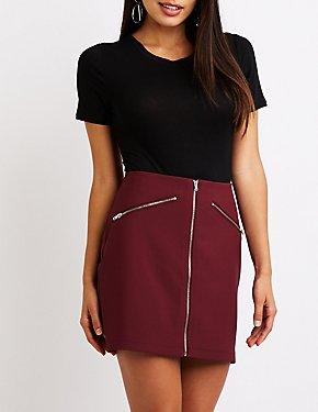 Zip Up A-Line Skirt