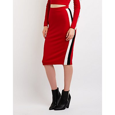 Side Striped Bodycon Skirt