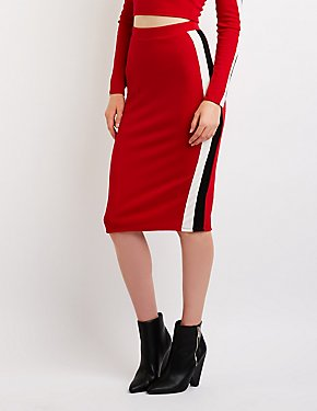 Stripe Detailed Bodycon Skirt