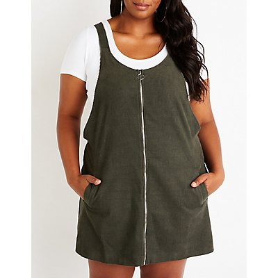 Plus Size Corduroy Overall Dress