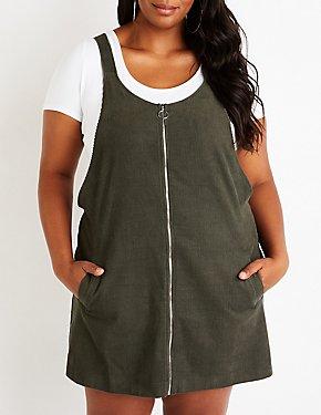 Plus Size Corduroy Overall Dress