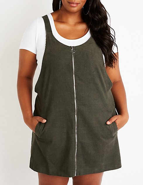 aa35908502e Plus Size Corduroy Overall Dress ...