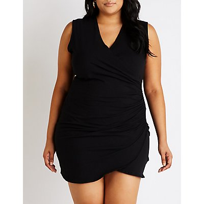 Plus Size V-Neck Ruched Bodycon Dress
