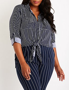 Plus Size Striped Tie Front Blouse