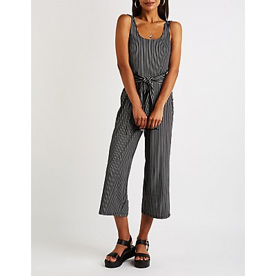 Striped Scoop Neck Cropped Jumpsuit
