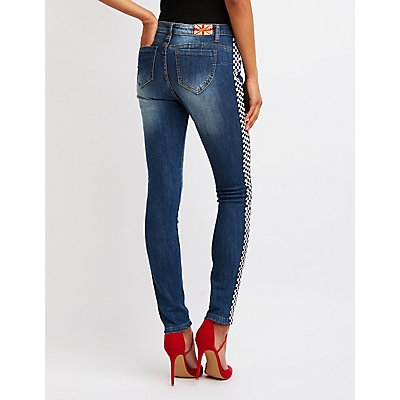 Machine Jeans Checkered Skinny Jeans