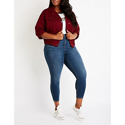 Plus Size Cropped Anorak Jacket