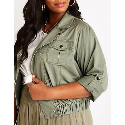 Plus Size Anorak Crop Jacket
